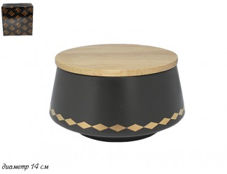 Салатник с крышкой 14см Lenardi Tekito чёрный 133-017