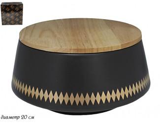 Салатник с крышкой 20см Lenardi Tekito чёрный 133-018