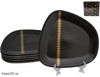 Набор из 6 тарелок 25см Lenardi Tekito чёрный 133-033
