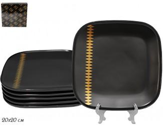 Набор из 6 квадратных тарелок 20см Lenardi Tekito чёрный 133-036
