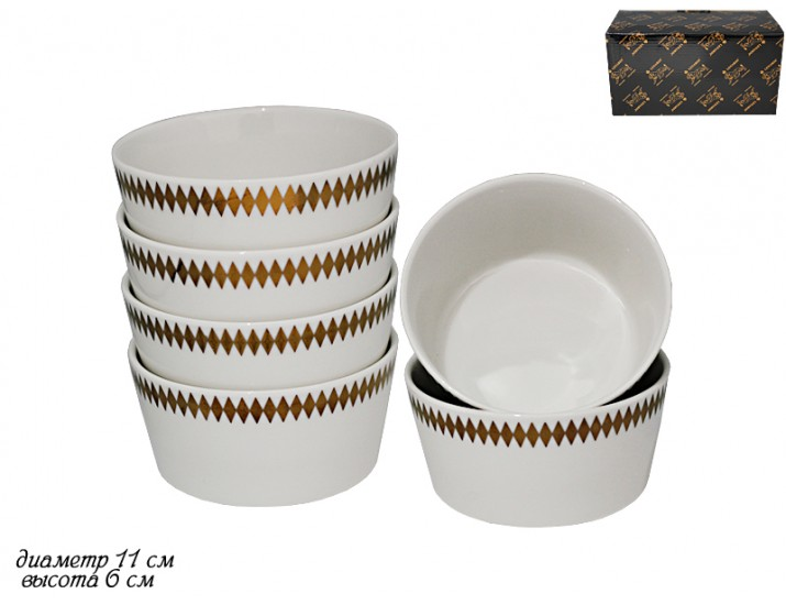 Набор из 6 салатников 11см Lenardi Tekito белый 133-045