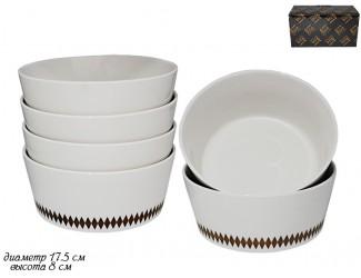Набор из 6 салатников 17,5см Lenardi Tekito белый 133-046