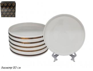 Набор из 6 десертных тарелок 20см Lenardi Tekito белый 133-047