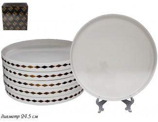 Набор из 6 обеденных тарелок 24,5см Lenardi Tekito белый 133-048