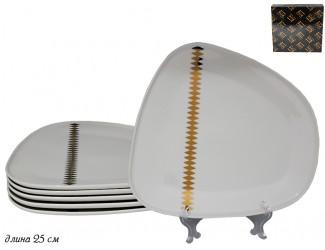 Набор из 6 тарелок 25см Lenardi Tekito белый 133-070