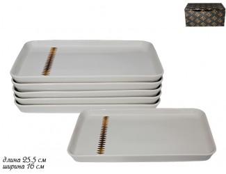 Набор из 6 прямоугольных тарелок 25,5см Lenardi Tekito белый 133-072