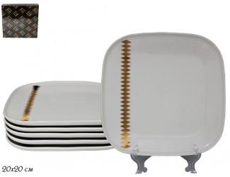 Набор из 6 квадратных тарелок 20см Lenardi Tekito белый 133-073