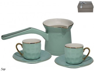 Кофейный набор на 2 персоны 5 предметов Lenardi голубой 181-080