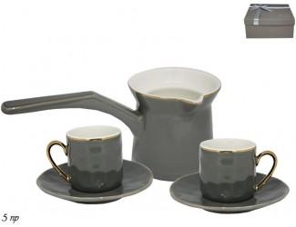 Кофейный набор на 2 персоны 5 предметов Lenardi серый 181-082