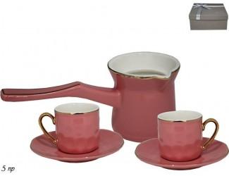 Кофейный набор на 2 персоны 5 предметов Lenardi розовый 181-083