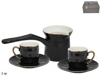 Кофейный набор на 2 персоны 5 предметов Lenardi чёрный 181-085