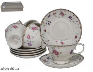 Набор кофейных пар на 6 персон 12 предметов 90мл Lenardi Флоренс 181-158