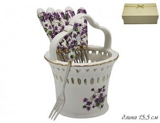 Набор из 6 десертных вилок фиалки Lenardi KRISTAL DE LUX 198-041