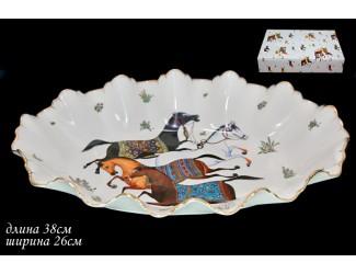 Овальное блюдо 38см Lenardi Лошади(Horse) 208-130