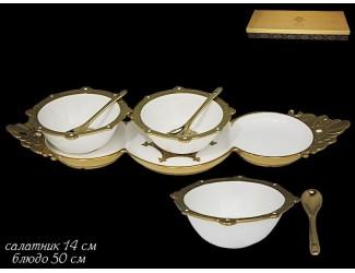 Набор салатников 14см с ложками на подставке Lenardi Византия 224-116