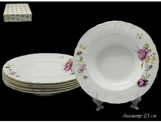Набор из 6 тарелок глубоких 23см Lenardi Maria Rose 226-069