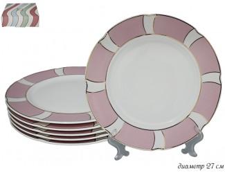 Набор тарелок 6шт 27см Lenardi Волна розовый 304-014