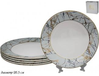 Набор тарелок 6шт 26,5см Lenardi Голубой мрамор 555-094