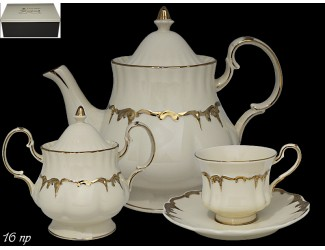 Чайный сервиз на 6 персон 16 предметов 220мл Lenardi Амелия слоновая кость 666-346
