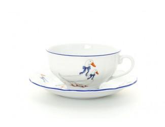 Набор чайных пар 200мл на 6 персон 12 предметов Leander Верона Гуси декор 0807