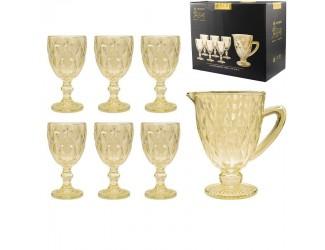 Набор бокалов для вина 6шт 240мл+графин Lenardi жёлтый 588-416