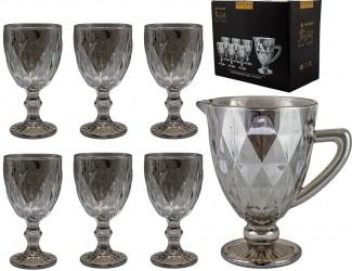 Набор бокалов для вина 6шт 240мл+графин Lenardi серый 588-417