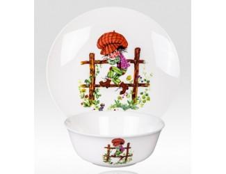 Набор 2 предмета Japonica тарелка+салатник Мальчик на заборе MBK03