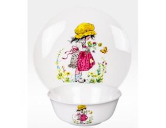 Набор 2 предмета Japonica тарелка+салатник Девочка с бабочкой MGK02