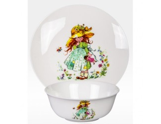 Набор 2 предмета Japonica тарелка+салатник Девочка с куклой MGK03