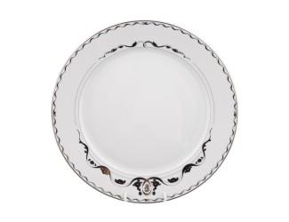 Блюдо круглое 30см Rudolf Kampf Роза и ленты декор 2275 платина 02111333-2275k