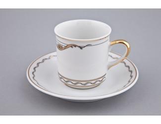 Чайная пара высокая с блюдцем Rudolf Kampf Роза и ленты 0,15л декор 2274 золото