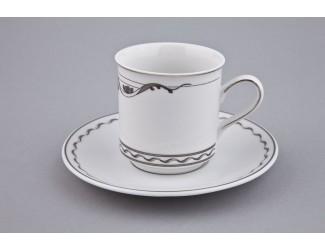 Чайная пара высокая с блюдцем Rudolf Kampf Роза и ленты 0,15л декор 2275 платина