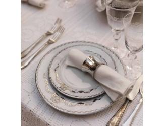 Набор тарелок мелких Rudolf Kampf Роза и ленты 6шт 25см декор 2275 платина 02160125-2275