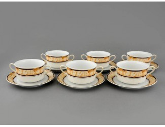 Набор чашек для супа с блюдцами 6 шт 350мл Leander Сабина  декор 0504