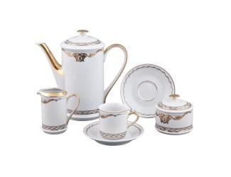 Сервиз кофейный Rudolf Kampf Роза и ленты мокко 15 предметов 6 персон декор 2274 золото