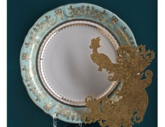 Блюдо круглое мелкое 32см Rudolf Kampf  Национальные традиции 238B, бирюзовый 07111315-238B