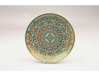Тарелка мелкая Rudolf Kampf Александрия 30см бирюза с золотом 36111333-2282k