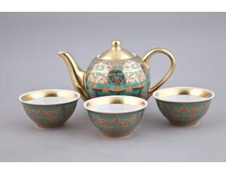 Подарочный набор чайный Rudolf Kampf Александрия Тет-а-тет 4 предмета, бирюза с золотом 36140714-2282k
