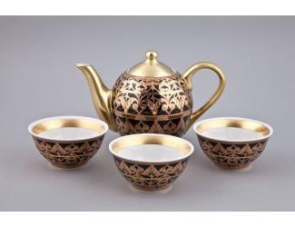 Подарочный набор чайный Rudolf Kampf Александрия Тет-а-тет 4 предмета, чёрный с золотом 36140714-2283