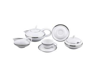 Сервиз чайный Rudolf Kampf Тереза 15 предметов 6 персон отводка платина декор 0011