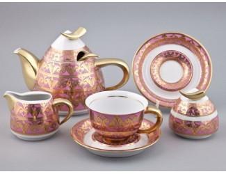 Сервиз кофейный с чайником 0,55л Rudolf Kampf Кельт , розовый