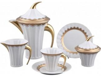 Сервиз чайный Rudolf Kampf Древний Египет 15 предметов 6 персон., белый с матовым золотом 61160725-2016K в подарочной упаковке