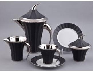 Сервиз чайный Rudolf Kampf Древний Египет 15 предметов 6 персон, черный с платиной 61160725-2110