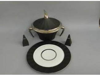 Сервиз столовый Rudolf Kampf Древний Египет 26 предметов 6 персон чёрный с платиной 61162011-2110