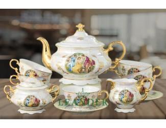 Чайный сервиз 15 предметов 6 персон Leander Мэри-Энн Мадонна перламутр декор 0676