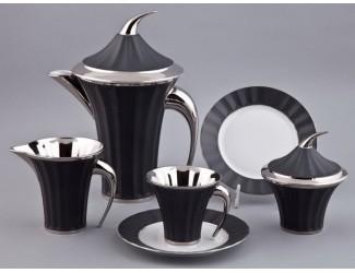 Сервиз чайный Rudolf Kampf Древний Египет 15 предметов 6 персон чёрный с платиной 61160725-2110k